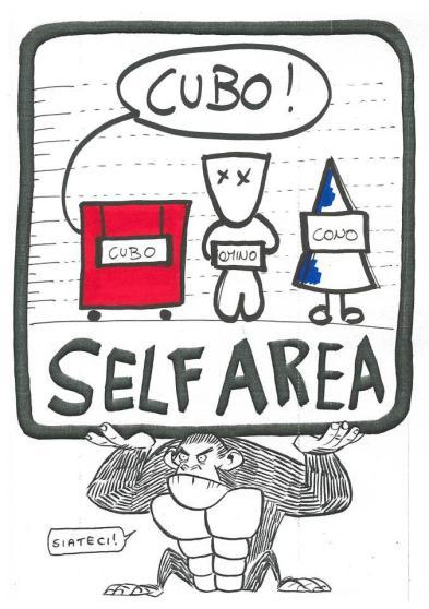Omino,Cubo e Cono alla Self Area